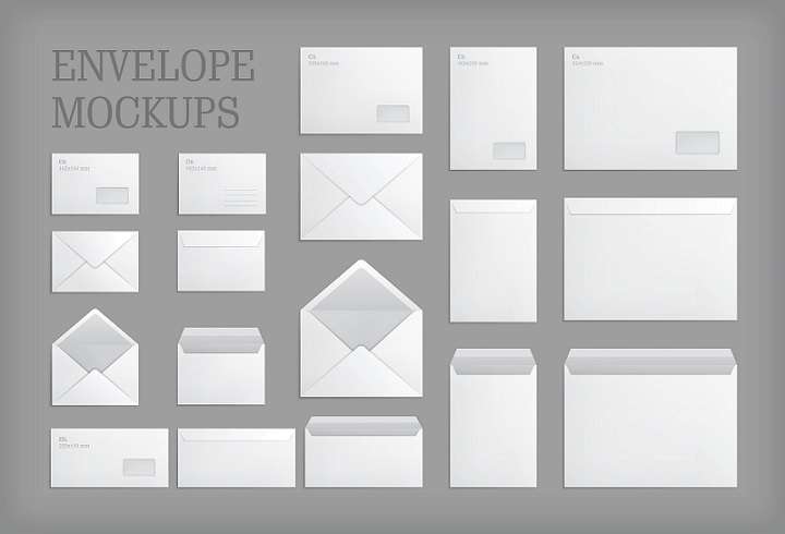 various envelope types and sizes