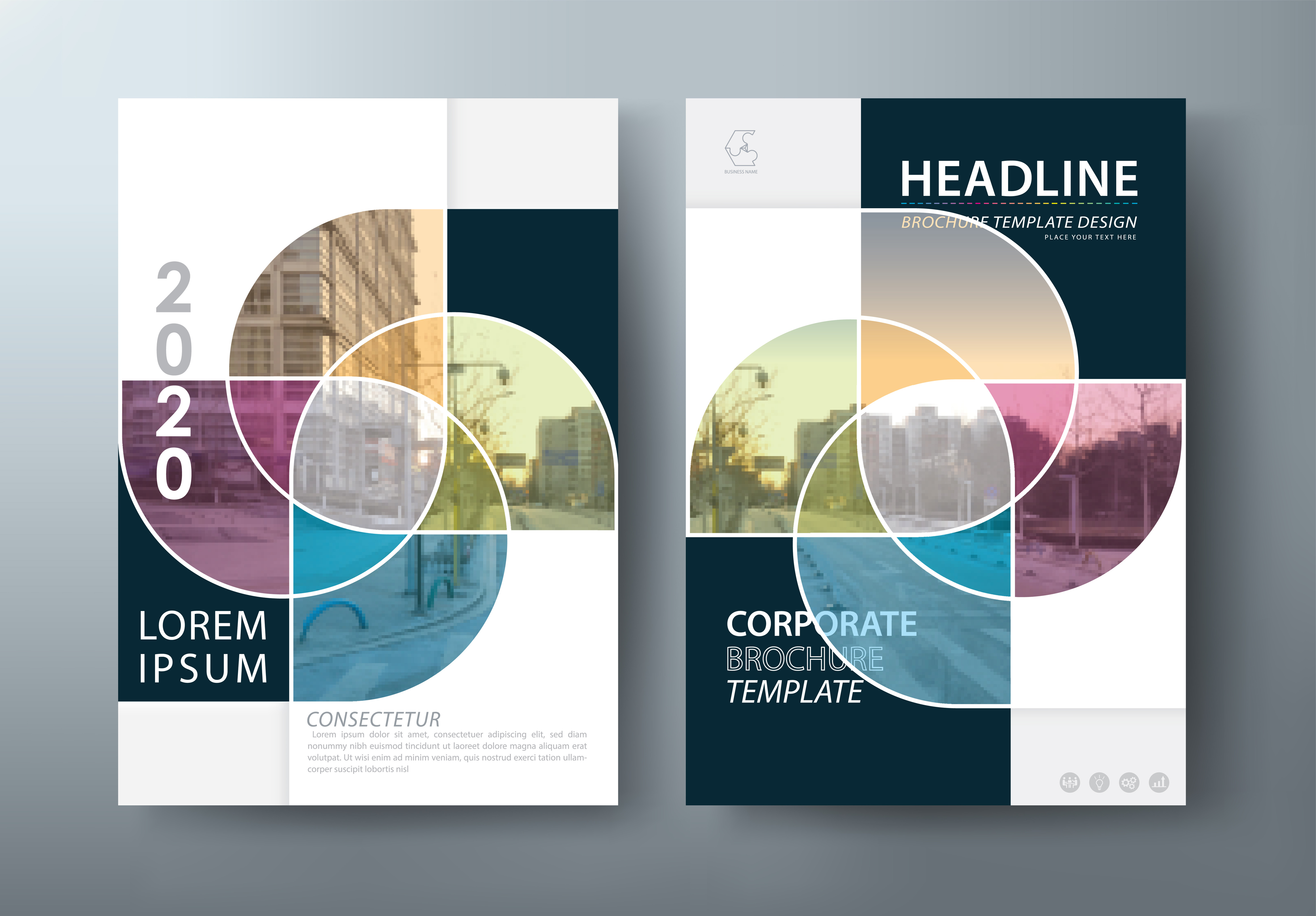 an example of a corporate brochure with multiple colors