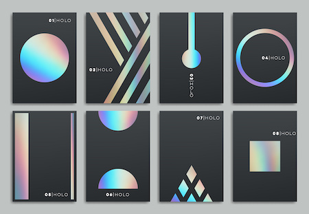 Brochure template design. Set of abstract holographic geometric layout. Vector illustration collection for business, advertising.